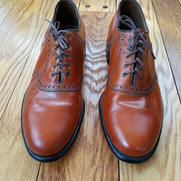 Keith Highlanders Brown Leather Plain Toe Oxford Shoes Mens Sz 10 C/A